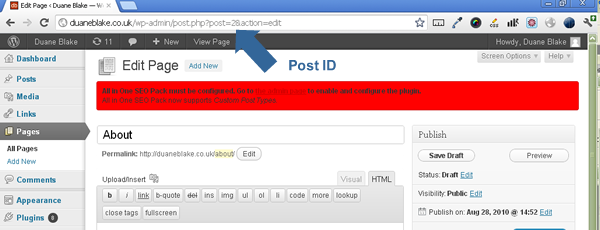 Wordpress Page Id Screen